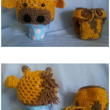 Giraffe infant hat and diaper cover (yellow, baby, shower, costume, Halloween, animal)