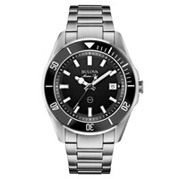 Bulova 98B203 Men's Marine Star Black Dial Steel Bracelet Watch