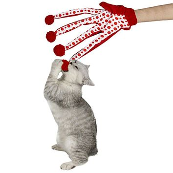 New Arrival Lovely Pet Products Lovely Ball Pet Funny Toy Cute Polka Dot Cat Toys Scratch Glove Toy tease cat gloves