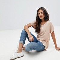 ASOS DESIGN Tall t-shirt with drapey batwing sleeve in pink at asos.com