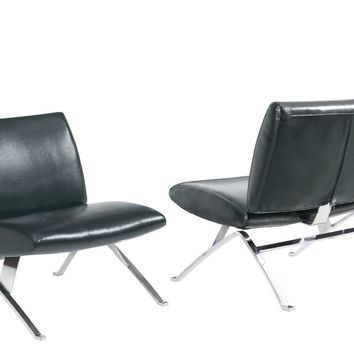Black Leather-Look / Chrome Metal Modern Accent Chair
