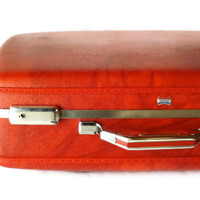 Vintage Red Suitcase Red Luggage AMerican Tourister Red Suitcase