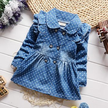 2018 New Fashion Brand Hot Sale Dress Girls Soft Cotton Baby Long-sleeve Dots Denim Dresses Kids Spring Autumn Dresses