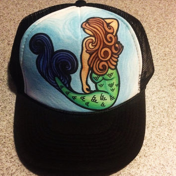 Mermaid handpainted trucker hat