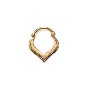 Hinged Septum Clicker Nose Ring Hoop Gold Plated 925 Sterling Silver Tear  Drop 18G 082eb2fb0b6c