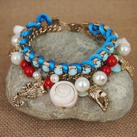 Fun Beach Bracelet with Natural Seashell and Ocean Theme Charms in 2 Colors