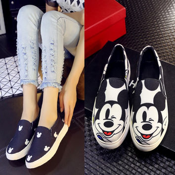 Cartoons Double Color Canvas Platform Shoes [4920473540]