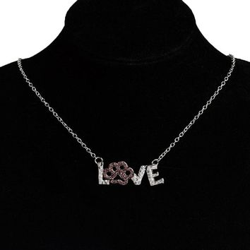 Express your love necklace Pink rhinestone love dog cat print necklace Pet memorial jewelry Necklace for dog lover Animal gifts