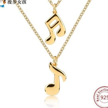Music Note Pendant Chain Necklace Fashion Jewelry 925 Sterling Silver Note Necklaces & Pendants For Women Gold Color Collier