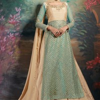 Light Blue and Golden Beige Party Wear Lehenga