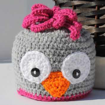 Crochet Hat - Childrens Animal Hat - Owl Hat - Grey and Pink - Newborn to 6 months