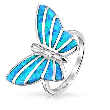 Blue Created Opal Inlay Garden Butterfly Ring 925 Sterling Silver