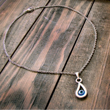 Evil Eye Necklace Blue Greek Mati Hamsa Silvertone Tear Drop Pendant Charm Chain Necklace