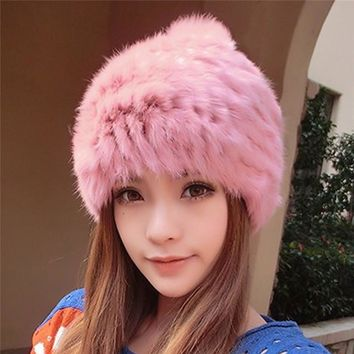 Fluffy Rabbit Fur Hats For Women 2017 Warm Winter Caps Gorro Ladies Pom Pom Hat Faux Fur Female Beanies Skullies Bonnet Femme