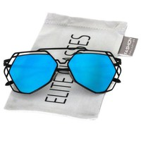 Elite Modern Geometric Metal Frame Colored Mirror Flat Lens Hexagonal Sunglasses