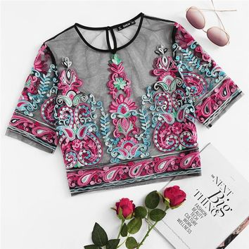 Flower Embroidery Sheer Mesh Crop Top Blouse