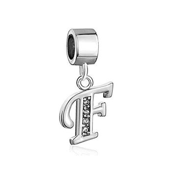 Mel Crouch AZ Letter Charms Alphabet Initial Birthday Charms Rhinestone Spacer Beads For Bracelets