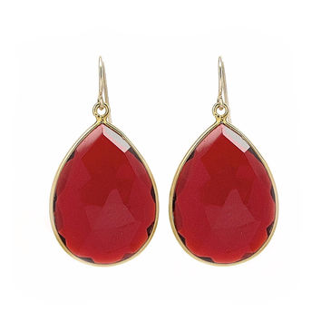 Large Garnet Drop Earrings