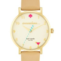 Women's kate spade new york 'metro - somewhere' leather strap watch, 34mm