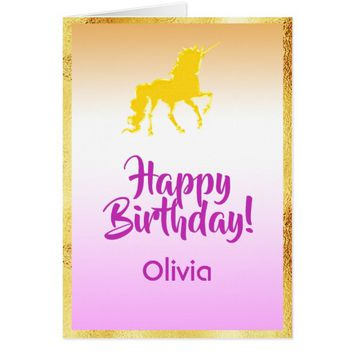 Unicorn in faux gold and pink Happy Birthday name Card