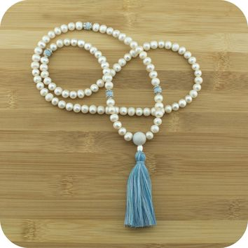 Freshwater Pearl Mala with Aquamarine