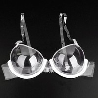 3/4 Cup Transparent Clear Push Up Bra Strap Invisible Bras Women Underwire