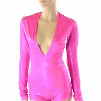 Neon Pink Sparkly Jewel Plunging V Neckline Romper with Long Sleeves Rave Festival Onsie 152293