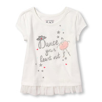 Toddler Girls Short Cap Sleeve Graphic Mesh Hem Top