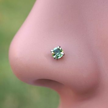 18 Gauge or 20 Gauge Light Peridot Green Crystal Nose Stud Nose Bone