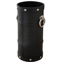 Leather and Ring Umbrella Bucket-Black