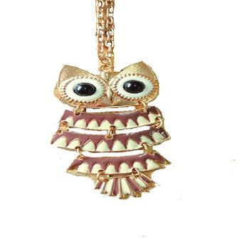 Pendant Owl Retro Alloy Metal Hollow Necklace For Women
