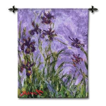 Monet Irises Woven Wall Tapestry 44L