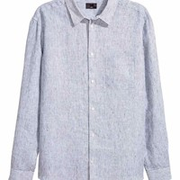 Linen shirt Relaxed fit - White/Blue striped - Men | H&M GB