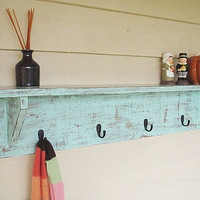 Distressed wood shelf coat hanger shabby chic home by SouthernWood