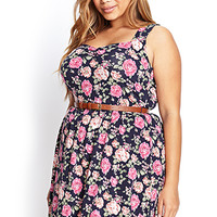 FOREVER 21 PLUS Rose Print Skater Dress Navy/Pink