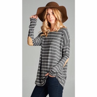 Striped Elbow Patch Tunic in Gray