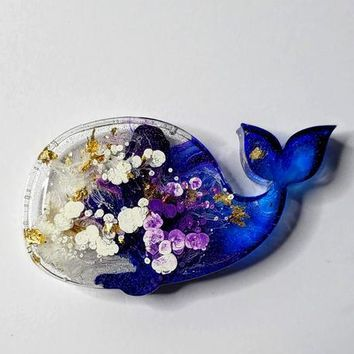 Whale Magnet for Refrigerator or Home Decor, Art Resin, Colorful, Great Gift Items, Ocean Items