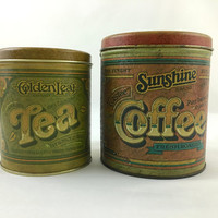 Vintage set of Rustic Coffee & Tea Storage Tins Stacking Kitchen Storage Tins for Tea and Coffee Ballonoff Nesting Tins Made in USA
