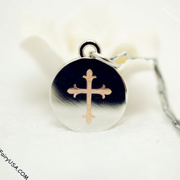 Engraved Cross Disc Tiny Steel Cross Necklace