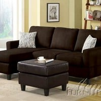 2 pc Chocolate microfiber reversible chaise sectional sofa