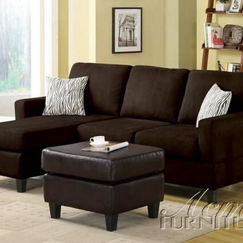2 pc chocolate microfiber reversible chaise sectional sofa for Brown microfiber chaise lounge