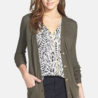 Halogen Mixed Knit V-Neck Cardigan (Regular & Petite)