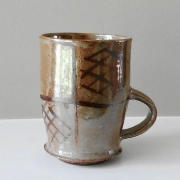 Big Golden Brown Shino Mug, Coffee Mug, Ceramic Mug, Tea Mug, Pottery Mug, Tall Mug, Stoneware Mug, Rustic Cup, Father's Day Gift