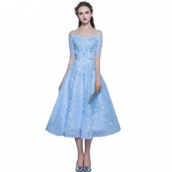 Prom Dresses Sweetheart Party Dress Short Sleeve Prom Dresses Light Blue Lace Prom Dress Short