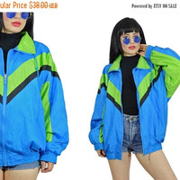 25%SALE vintage 90s neon windbreaker 1990s 1980s green blue ski jacket bomber club kid new wave slouchy soft grunge oversized jacket M L