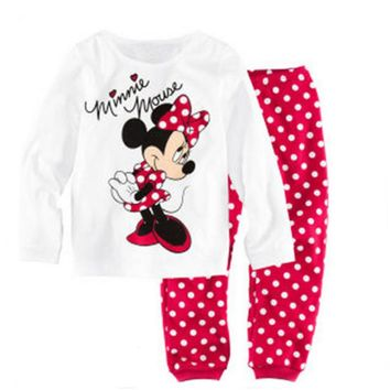 Children Clothes Fashion Sweet Minnie Mickey Mouse Dot Kids Girls Love Nightwear Pajamas Sleepwear Suit
