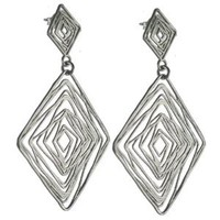 High Fashion Italian Trendy Sterling Silver with Rhodium Overlay Double Diamond Shaped Drop Style Earrings!