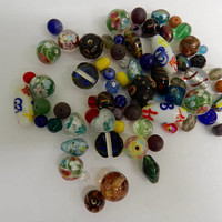 Mixed Lot Assortment Loose Glass Beads  Destash Jewelry Beads