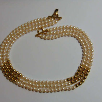 Richelieu 3 Strand Faux Pearl Choker Necklace with Gold Tone Beads VINTAGE SIGNED