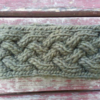 chunky cable knit earwarmer headband neckwarmer in super soft warm wool acrylic blend, ready to ship
